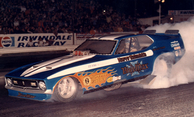 ... is an actual photo of the real Blue Max Mustang funny car from 1972